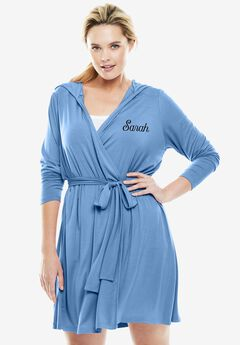 Personalized Short Hooded Robe by Dreams & Co.®, FOUNTAIN BLUE, hi-res