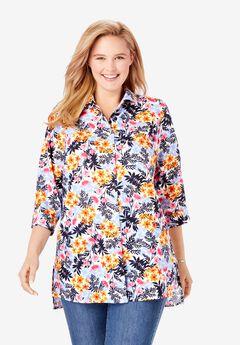Button Front Linen Shirt,