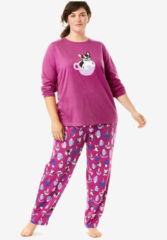Long Sleeve Knit PJ Set by Dreams & Co.®, RASPBERRY DOG