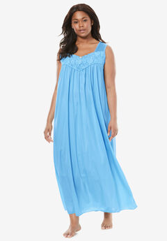 Long Tricot Knit Nightgown by Only Necessities®, BABY BLUE