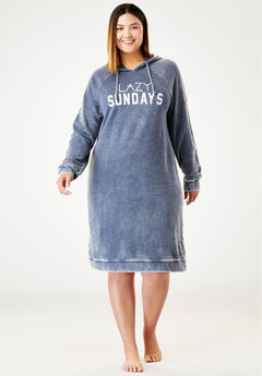 Burnout French Terry Graphic Hooded Lounger by Dreams & Co.®, NAVY, hi-res