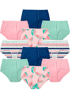 10-Pack Pure Cotton Full-Cut Brief , WATERMELON PACK