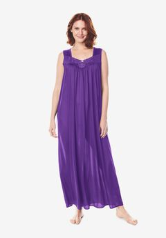 Long Tricot Knit Nightgown by Only Necessities®, PLUM BURST