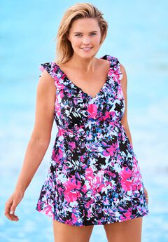 Ruffle-Neck Swim Dress ,