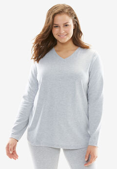 Long-Sleeve Sleep Tee by Dreams & Co.®, HEATHER GREY, hi-res