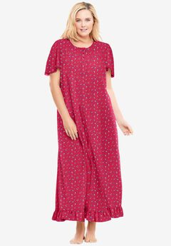Long Floral Print Cotton Gown by Dreams & Co.®, STRAWBERRY DITSY