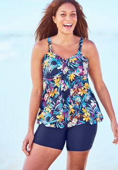 Flyaway Tankini Top with Bust Support by Swim 365,