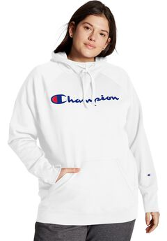 Champion Women's Plus Powerblend® Fleece Hoodie, Script Logo,