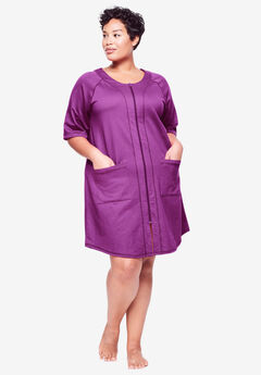 Short French Terry Zip-Front Robe by Dreams & Co.®, DARK RASPBERRY