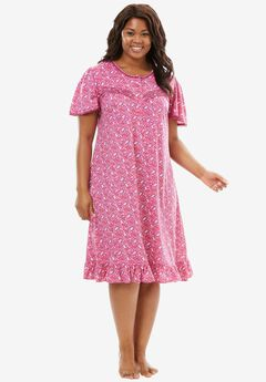 Cotton Print Nightgown by Dreams & Co.®, BRIGHT BERRY FLORAL, hi-res