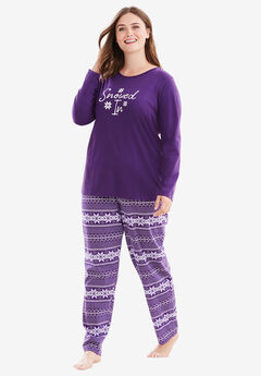 Long Sleeve Knit PJ Set by Dreams & Co.®, RICH VIOLET FAIR ISLE