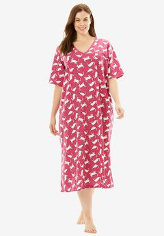 Long Print Sleepshirt by Dreams & Co®, BRIGHT BERRY CATS, hi-res
