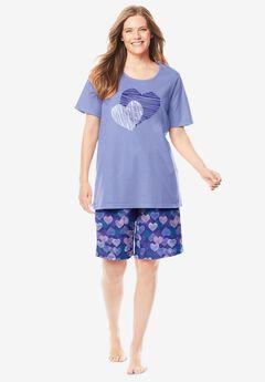 Knit PJ Short Set by Dreams & Co.®, BLUE SAPPHIRE HEARTS