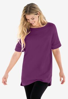 Perfect Cuffed Elbow-Sleeve Boat-Neck Tee,