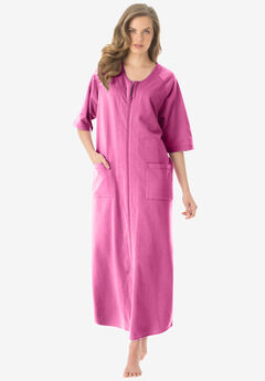 Long French Terry Robe by Dreams & Co.®, BRIGHT TULIP, hi-res