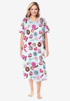 Long Print Sleepshirt by Dreams & Co.®, IVORY DONUTS