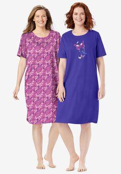 2-Pack Short-Sleeve Sleepshirt by Dreams & Co.®,