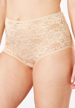 Lace Full-Cut Brief Panty by Comfort Choice®, NUDE, hi-res