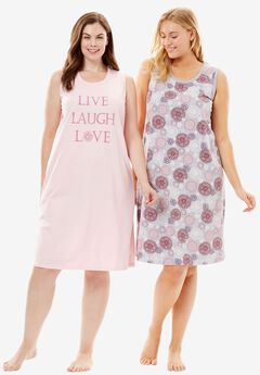 2-Pack Sleeveless Sleepshirts by Dreams & Co., PINK LOVE, hi-res