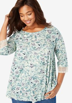 Crochet-Sleeve Tunic, WILLOW GREEN ARTIST FLORAL