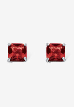 Sterling Silver Stud Princess Cut Simulated Birthstone Stud Earrings,