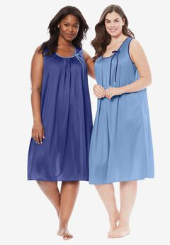 2-Pack Sleeveless Nightgown by Only Necessities®, ULTRA BLUE FRENCH BLUE