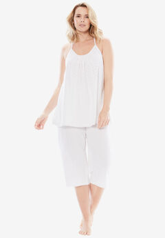 Breezy Eyelet Knit Tank & Capri PJ Set by Dreams & Co.®, WHITE