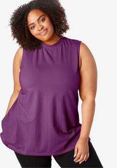 EveryWear Essentials™ Sleeveless Mockneck Tee, PLUM PURPLE