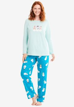 Long Sleeve Knit PJ Set by Dreams & Co.®, DARK TURQ SNOWMAN