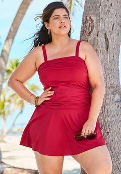 Contrast Band Swim Dress, CLASSIC RED