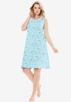 Sleeveless Sleepshirt by Dreams & Co.®, AQUA DRAGONFLY, hi-res
