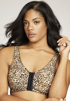 Front Hook Wireless Leisure Bra by Leading Lady®, LEOPARD, hi-res