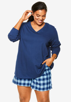 Flannel Pajama Short by Dreams & Co.®, EVENING BLUE PLAID