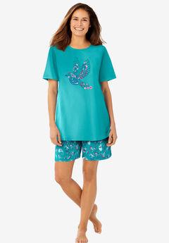 Knit PJ Short Set, WATERFALL PAISLEY FLORAL