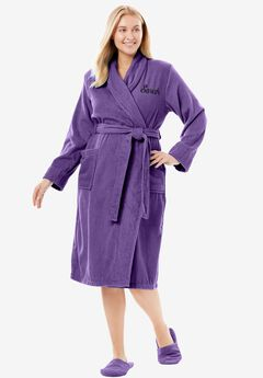Personalized Terry Wrap Robe by Dreams & Co.®, VIOLET BLOOM, hi-res