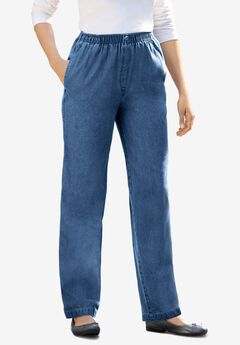 Elastic-Waist Cotton Straight Leg Pant, MEDIUM STONEWASH