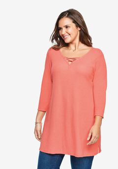 Lace-Up Washed Thermal Tunic,