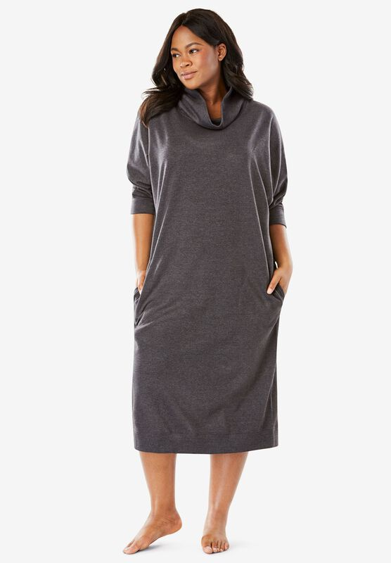 Cowl Neck Fleece Lounger Plus Size Lounge Dresses Roaman S