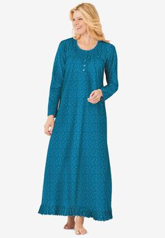 Long sleeve gown , DEEP TEAL DITSY