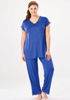 Lace Pajama Set, BLUE SAPPHIRE, hi-res