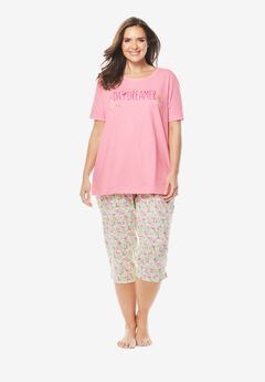 Graphic Tee Capri PJ Set by Dreams & Co.®, PINK FLAMINGOS