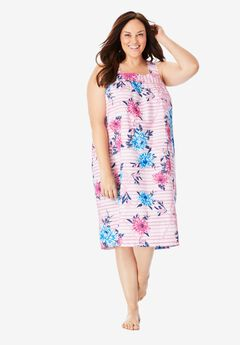 Print Sleeveless Square Neck Lounger by Dreams & Co.®, PINK FLORAL STRIPE