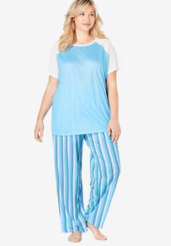 Cool Dreams Baseball Tee Pajama Set by Dreams & Co.®, WATERFALL BLUE STRIPE