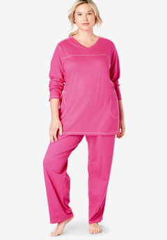Topstitched PJ Set by Dreams & Co.®, RASPBERRY SORBET