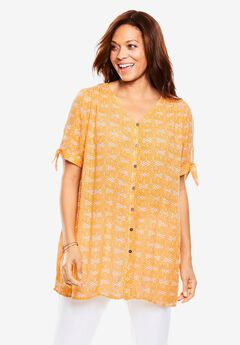 Tie-Sleeve Tunic Shirt,