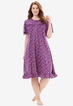 Cotton Print Nightgown by Dreams & Co.®, ROYAL GRAPE FLORAL, hi-res