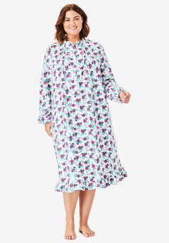 Cotton Flannel Print Short Gown by Only Necessities®, WHITE FLORAL