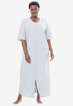 Long French Terry Robe by Dreams & Co.®, HEATHER GREY, hi-res
