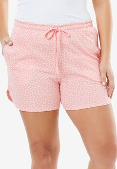 Print Pajama Shorts by Dreams & Co.®, FLAMINGO PINK DOT, hi-res