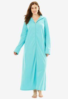 Long Zip-Front Robe by Dreams & Co.®, AQUA, hi-res